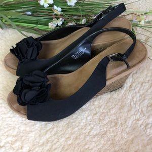 Aerosols Black Wedge Sandals